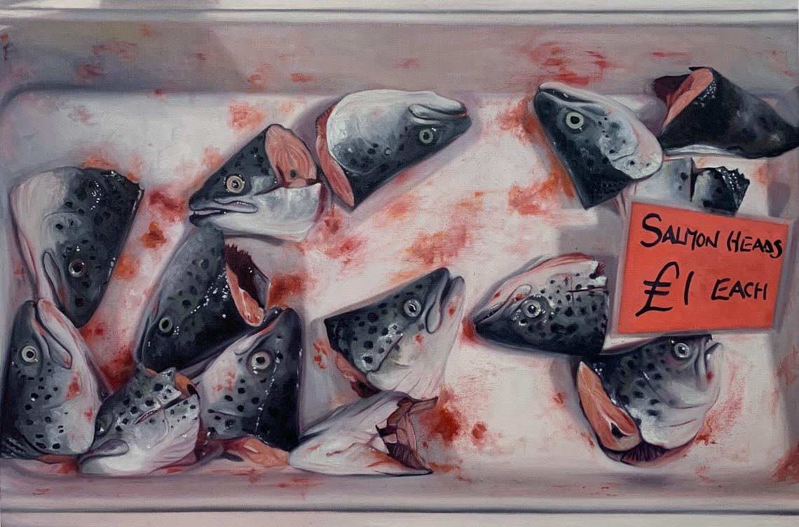 Lydia Blakeley - Salmon Heads £1 Each - 2018 - 60x90cm