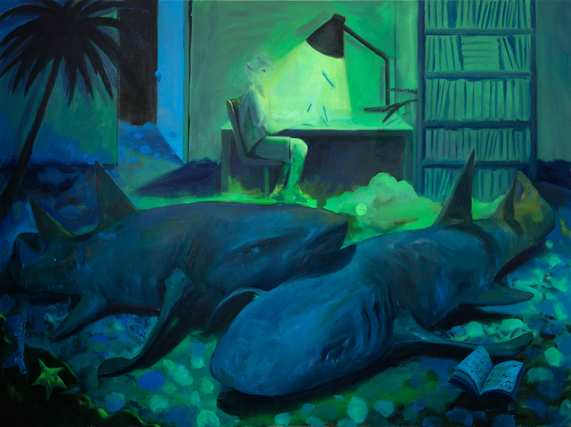 Minyoung Choi - Sleeping Sharks - 2018 - Oil on linen - 120x160cm